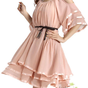 Chiffon Blush Rose Dress