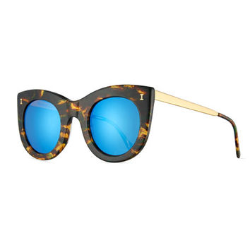 Illesteva Boca II Mirrored Cat-Eye Sunglasses, Forest/Blue