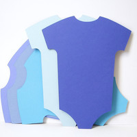 5 Extra Large Mixed Blue Onesuit die cut hanging by BelowBlink