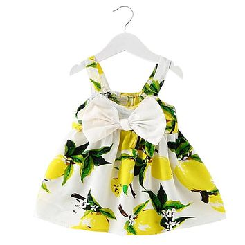 Baby Sundress Lemon Print Brand Baby Girl Clothes Dresses Toddler Girl 1st Birthday Dress For Girl Infant Kids Holiday Costume