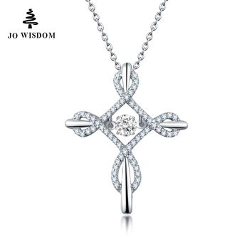 JO WISDOM birthstone Diamond with Dancing Natural Stone Natural Topaz Cross Necklace Collane Con Pendenti