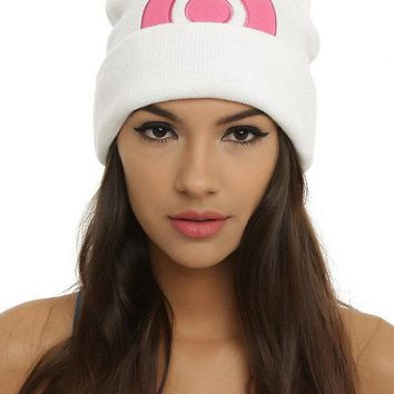 Licensed cool Pokemon GO Diamond & Pearl Dawn Cosplay Pink White Watchman Knit Beanie Hat Cap