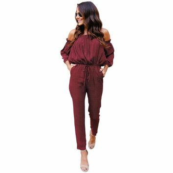 2 IN 1 V Neck Puff Sleeve Classic Vintage  One-Piece Loose Trousers Red Suit