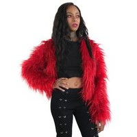 Roxanne Long Shag Faux Fur Jacket- Blood Red