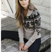 FAIR ISLE ZIP FRONT SWEATER
