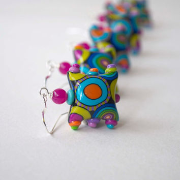 Modern Colorful Earrings, Polka Dot Earrings, Mod Whimsical Earrings, Polymer Clay Earrings