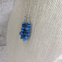 Blue Quartz Earrings, Stacked Stone Earrings, Blue Chip Bead Earrings, Blue Jean Earrings