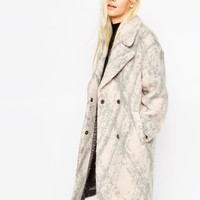 ASOS Coat in Cocoon Fit in Fluffy Texture