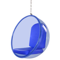 Bubble Hanging Chair Blue Acrylic, Blue Polished Chrome