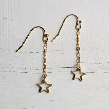 Star Earrings ... Vintage Brass Star Constellation Astrology