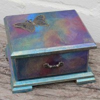 Jewelry Chest, Trinket Box, Mixed Media Collage, Assemblage, Bronze Butterfly Charm