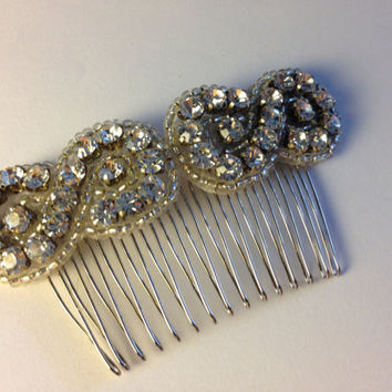 Vintage Inspired Handmade Silver Crystal Figure Eight Bridal Hair Comb Accessory Art Deco