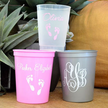 100 Personalized Baby Shower Stadium Cups
