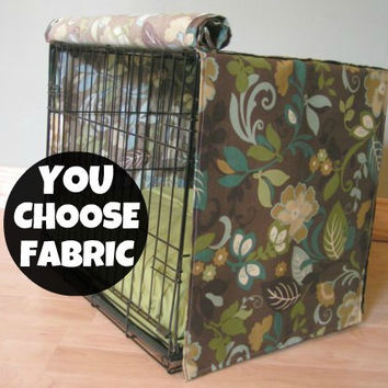 Designer Dog Crate Cover in ALL sizes : Choose from 100s of Premier Print Fabrics Zig Zag Chevron, Stripes, Ikat, Geometric .....