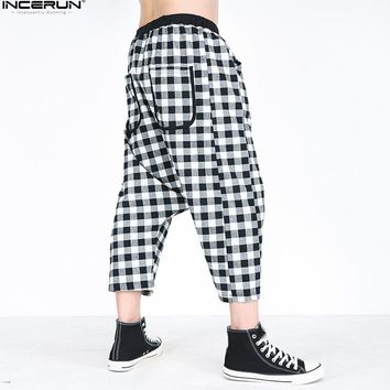 Plus Size 5XL Baggy Jogger Pants Men Loose Casual Black Plaid Harem Pants Mens Hip Hop Trousers Men Sweatpants pantalon hombre