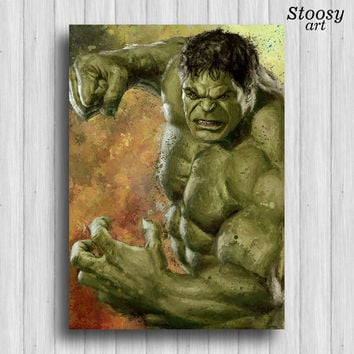 the incredible Hulk poster avengers watercolor superhero art marvel print
