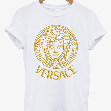 VERSACE GOLD Printed Logo Men Cotton Black and White Cotton T Shirt Tee - 06VR