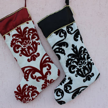 Luxury Damask Christmas Stockings Christmas Stocking Set Large Christmas Stocking Set  EXPRESS SHIPPING