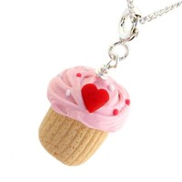 Heart Cupcake Inedible Necklace