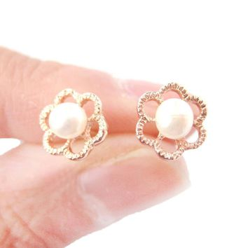 Small Floral Flower Shaped Stud Earrings in Rose Gold with Pearl Details | DOTOLY