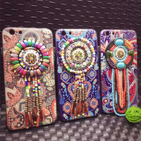 Painted Flowers Tribal Pendant Tassel Phone Case For Iphone