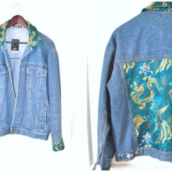vintage JEAN jacket 80s 90s GRUNGE up cycled ASIAN dragon print Cheongsam back patch denim jacket