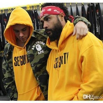 HOT SECURITY Yellow Hoodies Bieber Fashion Brand Purpose Tour Teenager Streetwear Casual Loose Sweatshirts Winter Tops