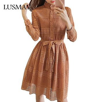 Hollow Out Lace Dress Long Sleeve Fashion 2017 Autumn Dress Black Green Khaki Knee Length Crochet Women Dresses With Bow Belt