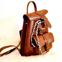Petite Distressed Leather Backpack