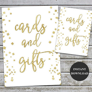 Cards and Gifts Gold Foil Signs Printable Wedding Card Decor Table Sign Gold Wedding Printable Signs 5x7 and 8x10 (v35-1) Instant Download