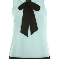Mint Sleeveless Pussybow Top - New In - Miss Selfridge US