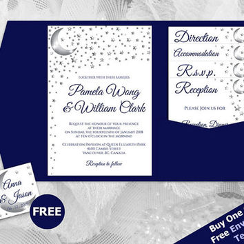DIY Printable Wedding Pocket Fold Invitation Set A7 5 x 7 | Editable MS Word file | 5 point Silver Moon Star