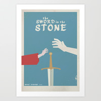 The Sword in the Stone - Walt Disney Minimal Movie Poster Art Print by Stefanoreves