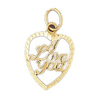 Gold charms- 14K GOLD SAYING CHARM - I LOVE YOU #10178