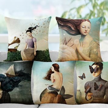 Butterfly Girl Cotton Linen Decorative Cushion Pillow Cover Home Office Sofa