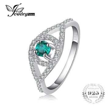 JewelryPalace Elegance Pear Nano Russian Simulated Emerald Statement Ring 925 Sterling Silver Engagement Wedding Band 2017 New