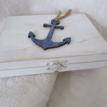 Beachy Coastal Nautical Shabby Chic Rustic Divided HIS/HERS Wedding Ring BOx Gift Box Trinket Box Wedding Decor