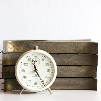 Cream White Alarm Clock, Polish Desk Clock - Mera Poltik, Vintage Clock, Wedding Gift Idea, brass rustic ohtteam