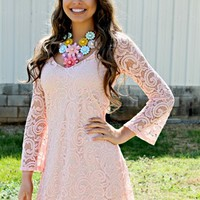 She's In Love Lace Dress - Blush