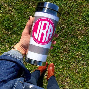Monogrammed Travel Mug - Tumbler - Personalized  Coffee Mug - Stainless Steel- 16oz - Gifts