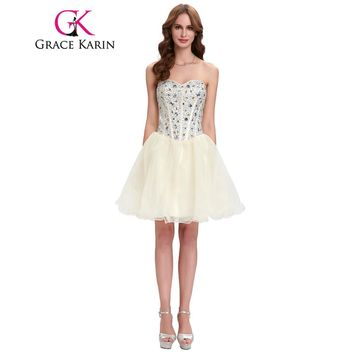 Grace Karin Short Prom Dress 2018 Sweetheart Ball Gown White Beige Black Bead Sequins Sexy Cute School Cocktail Party Prom Dress