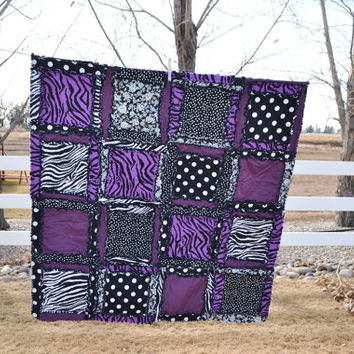 RAG QUILT, Purple, Black, Zebra, Baby Girl Crib Size Quilt, Made to Order