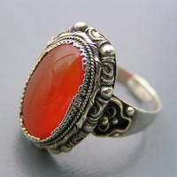 Vintage Chinese Export Carnelian Sterling SIlver Adjustable Ring