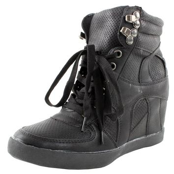 Eric-9 High Top Lace Up Womens Wedge Sneakers