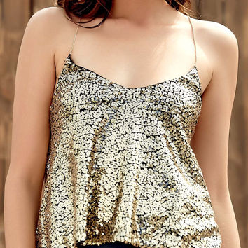 Gold Sequined Spaghetti Strap Tank Top