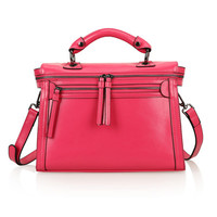 Leather Structured Doctors Bag Across Body Tote Bag w/ Removable Shoulder Strap-Rose Pink from KissBags