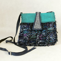 Knitted leather crossbody purse, turquoise and black leather crossbody bag, unique boho purse, blue leather bag