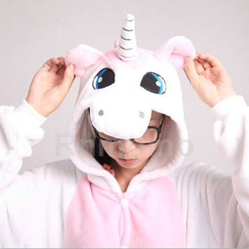 Adult Onepiece Pajamas Unicorn Kigurumi Unicorn Onepiece Pajamas for Women Girls Men Boy PJS Costume Flannel Pajamas Unisex Pyjamas