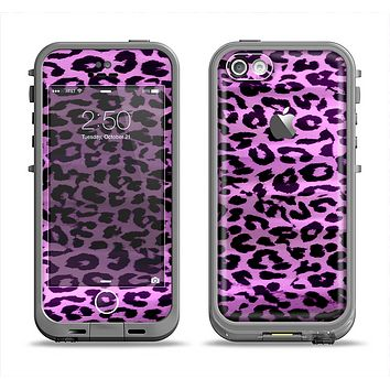 The Vivid Purple Leopard Print Apple iPhone 5c LifeProof Fre Case Skin Set