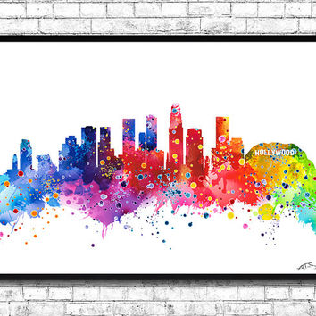 Los Angeles 2 Watercolor Print City Skyline Los Angeles Poster City Watercolor City Silhouette Wall Hanging Home Decor Giclee wall art
